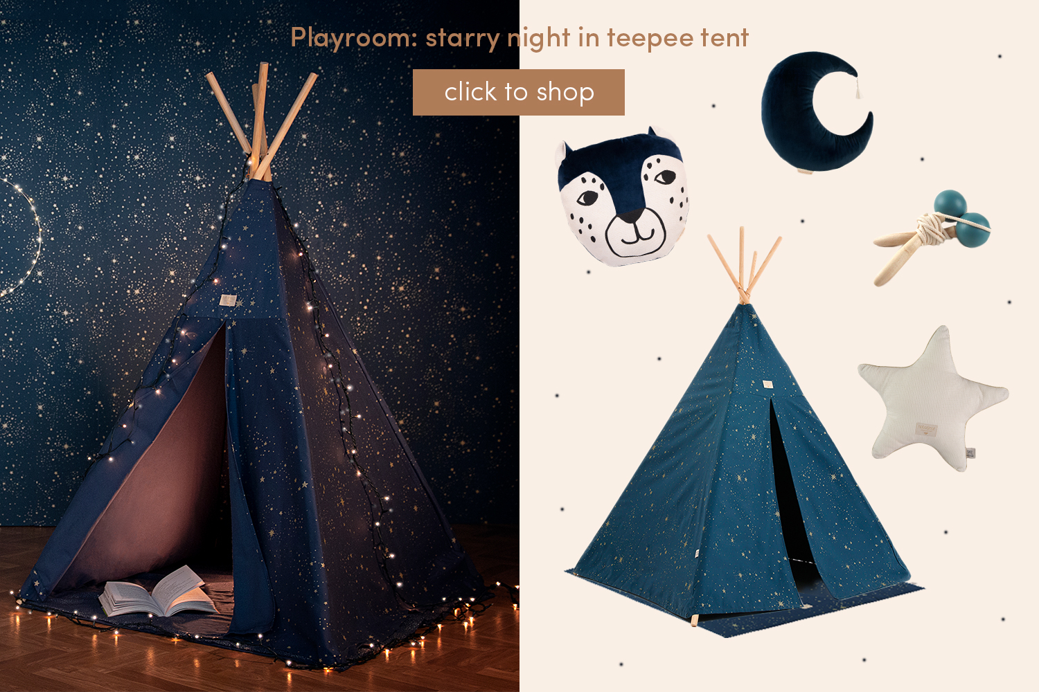 Playroom: starry night in teepee tent
