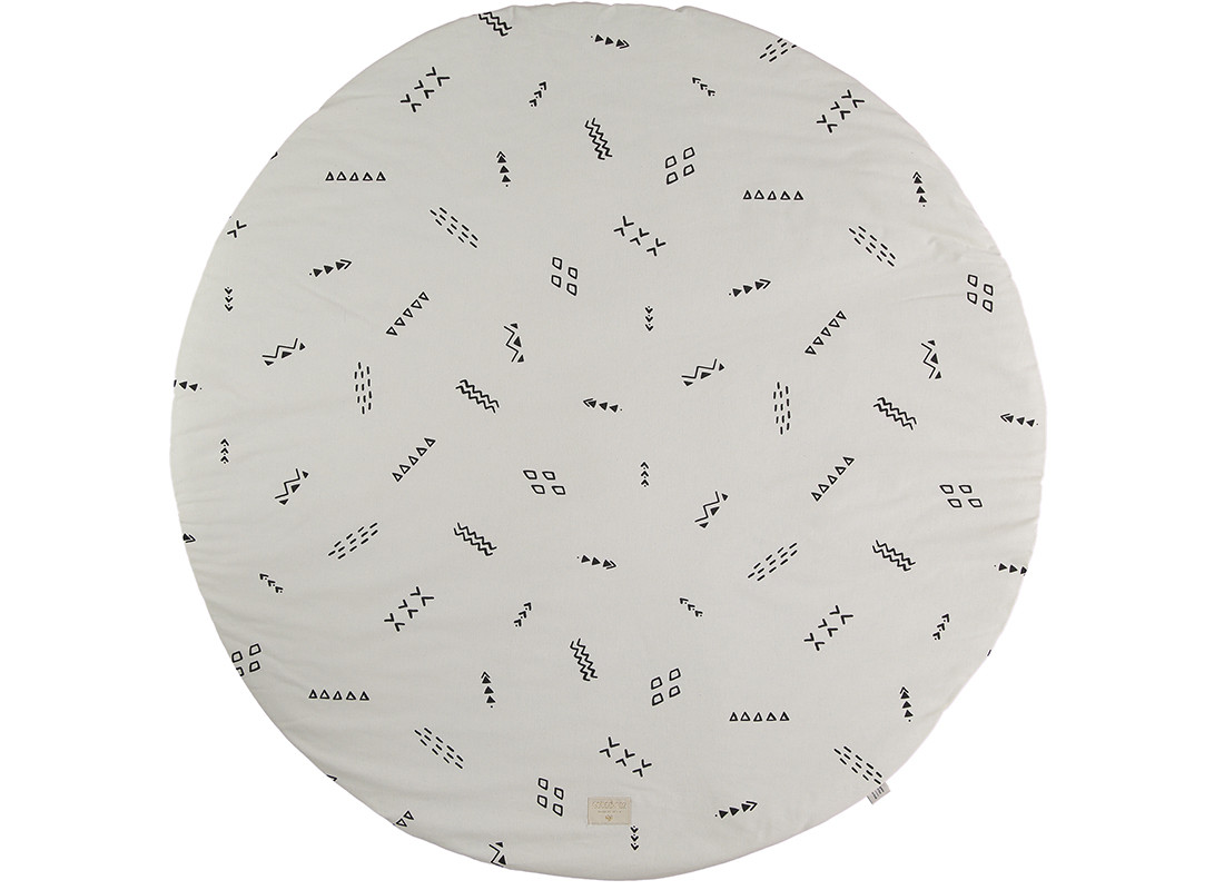 Alfombra de juego redonda Full Moon small 105x105 black secrets/ natural