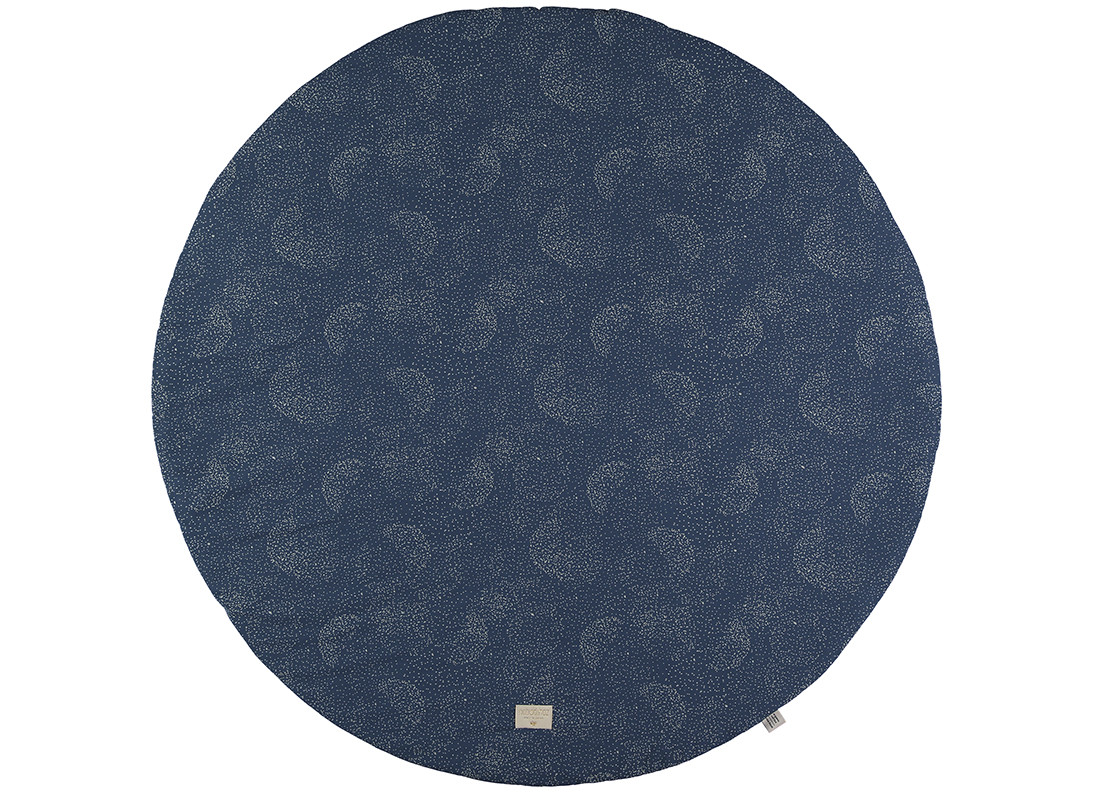 Alfombra de juego redonda Full Moon small 105x105 gold bubble/ night blue