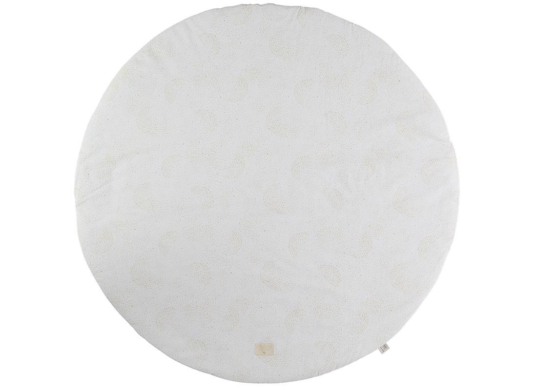 Alfombra de juego redonda Full Moon small 105x105 gold bubble/ white
