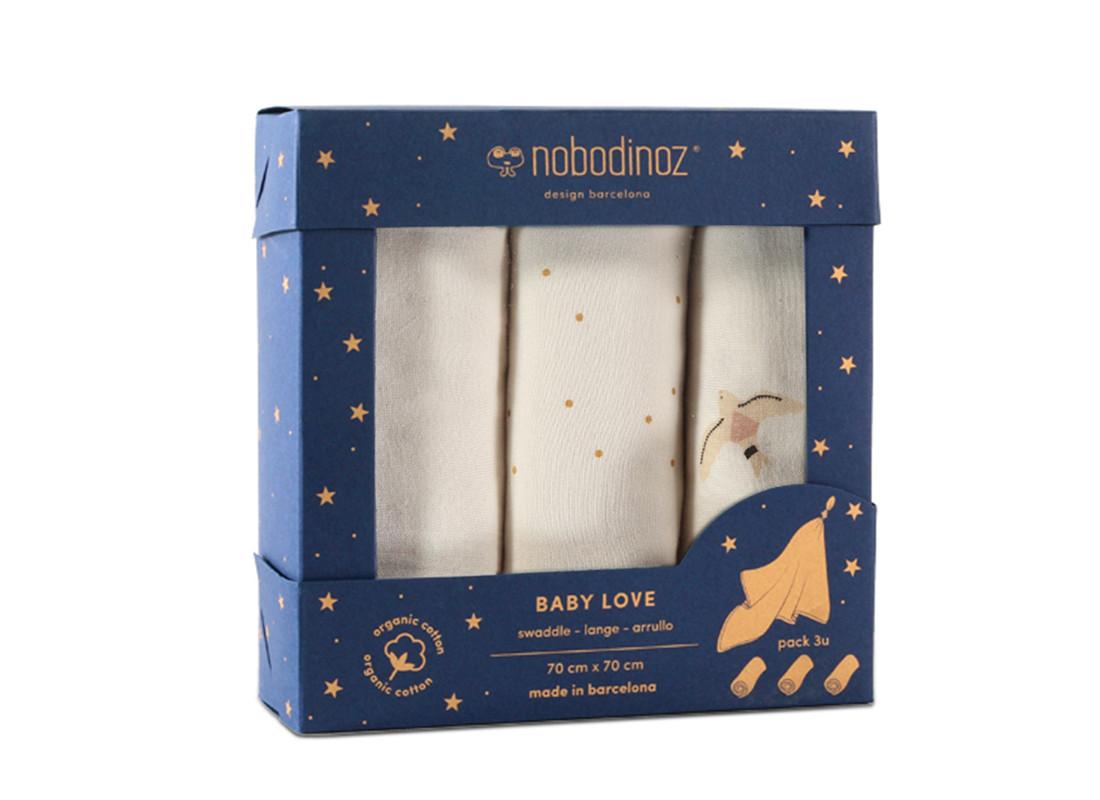 Caja de 3 muselinas Baby Love • haiku