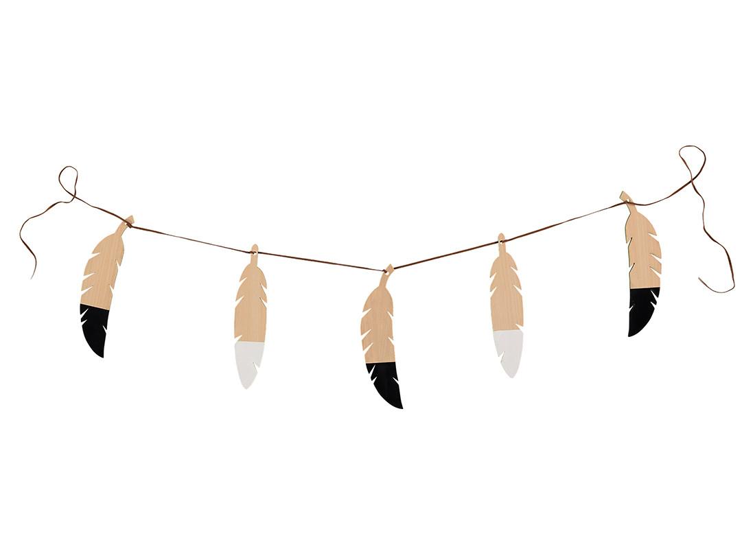 Guirnalda de plumas 180cm black&white