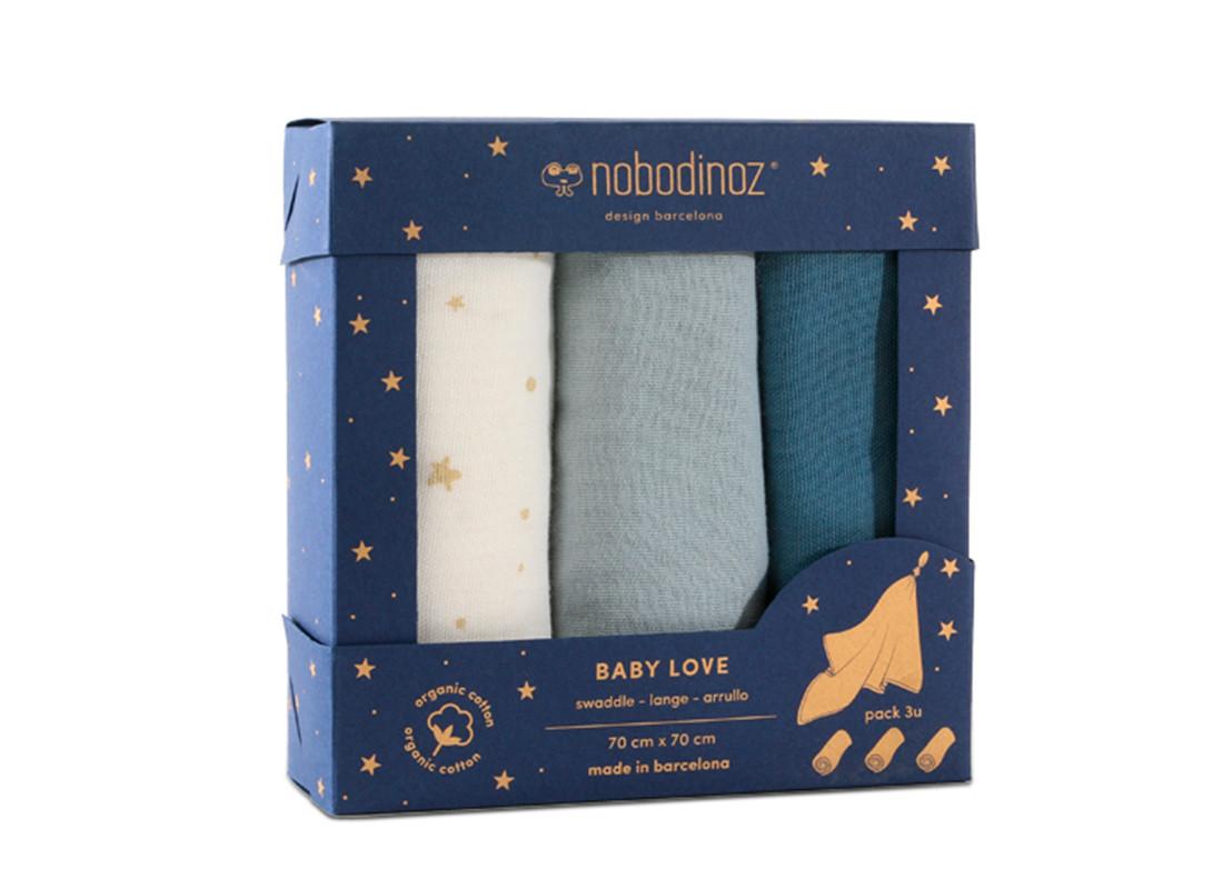 Caja 3u muselinas Baby love 70x70 pack blue
