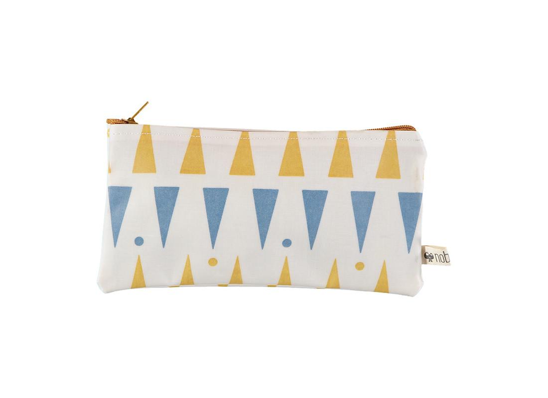 Estuche Verona 17x9 triangulos azules miel