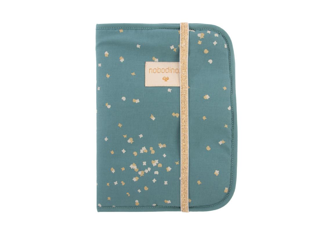 Funda libro de salud A5 Poema • gold confetti magic green