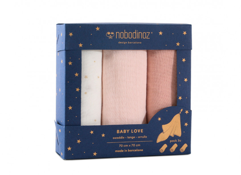 Caja 3u muselinas Baby love 70x70 pack pink