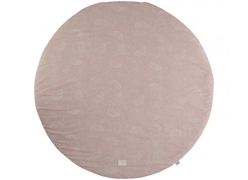 Alfombra de juego redonda Full Moon small 105x105 white bubble/ misty pink