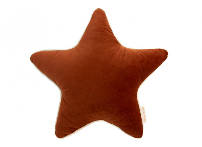 Aristote star velvet cushion wild brown