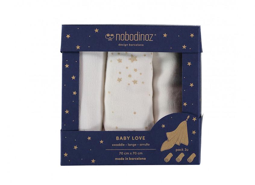 Caja 3u muselinas Baby love 70x70 pack white