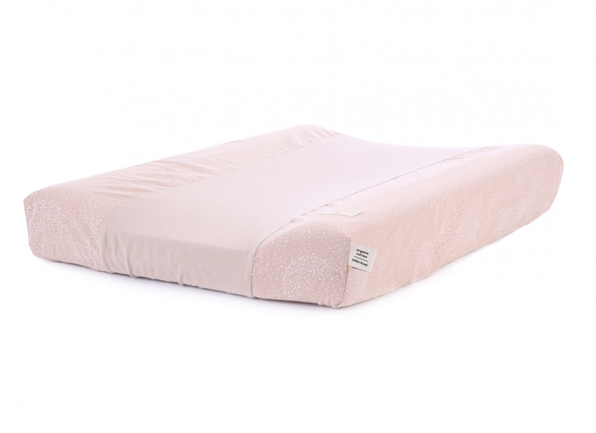 Cambiador impermeable Calma & funda 70X50 white bubble/ misty pink