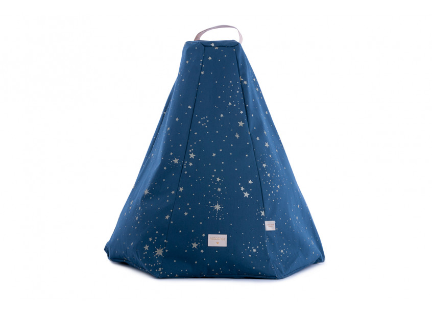 Puf Marrakech gold stella/ night blue