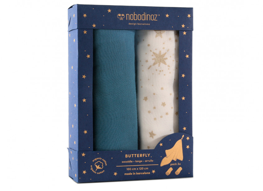 Caja 2u muselinas Butterfly 100x120 pack blue