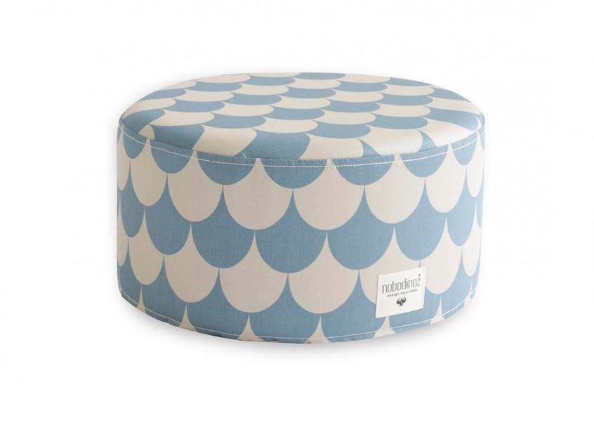 Puf Little Soho 36x36x18 escamas azules