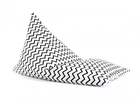 Puf Essaouira zigzag negro