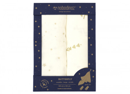 Caja 2u muselinas Butterfly 100x120 pack white