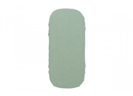 Sábana bajera moisés Melody • toffee sweet dots eden green