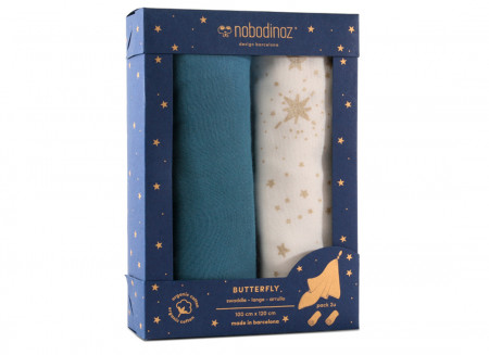 Caja 2u muselinas Butterfly 100x120 pack blue