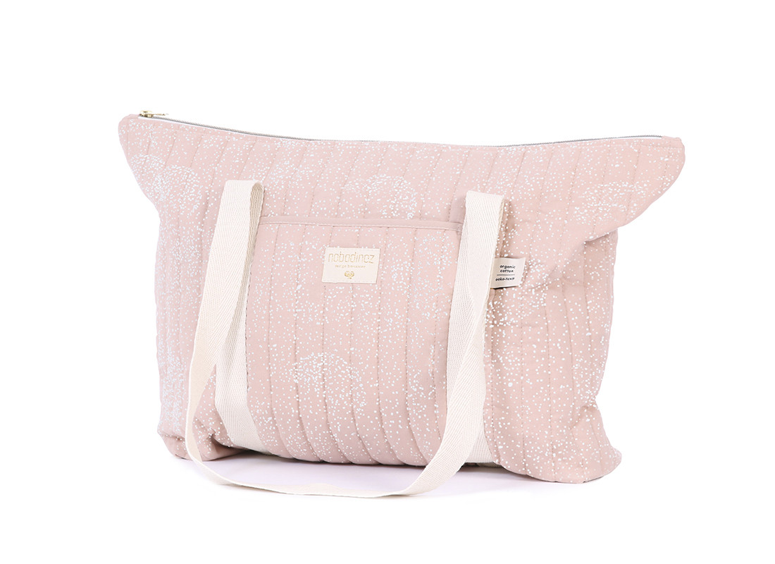 Bolsa de maternidad Paris 34x50x12 white bubble/ misty pink