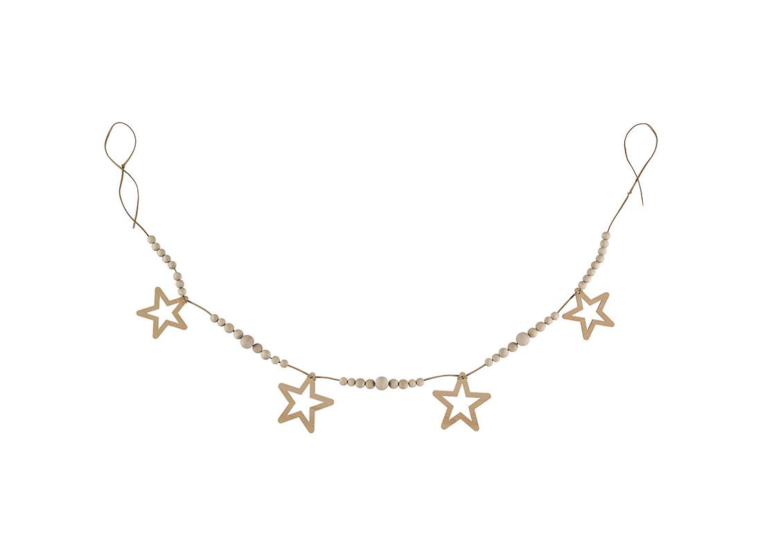 Guirnalda estrella y perla 165cm natural