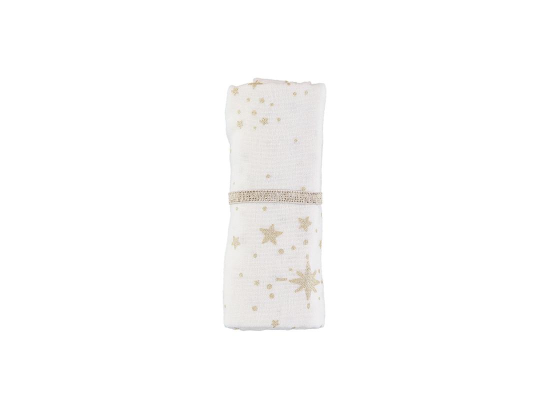 Muselina Baby love 70x70 gold stella/ white