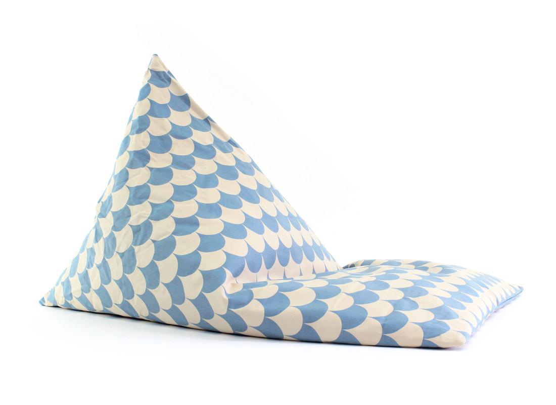 Puf Essaouira 115x77x77 escamas azules