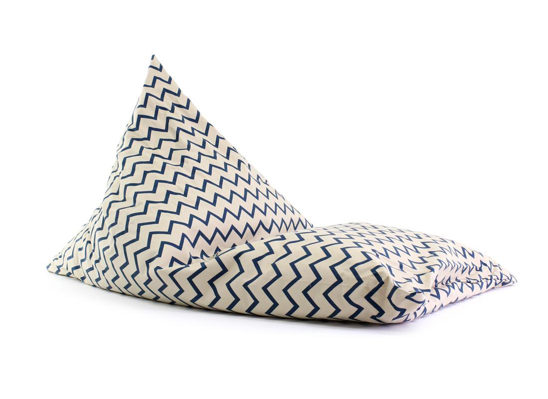 Puf Essaouira zigzag azul