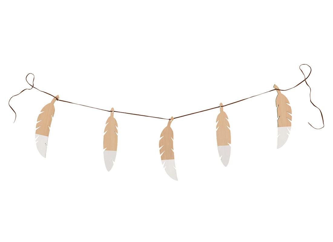 Guirnalda de plumas 180cm white
