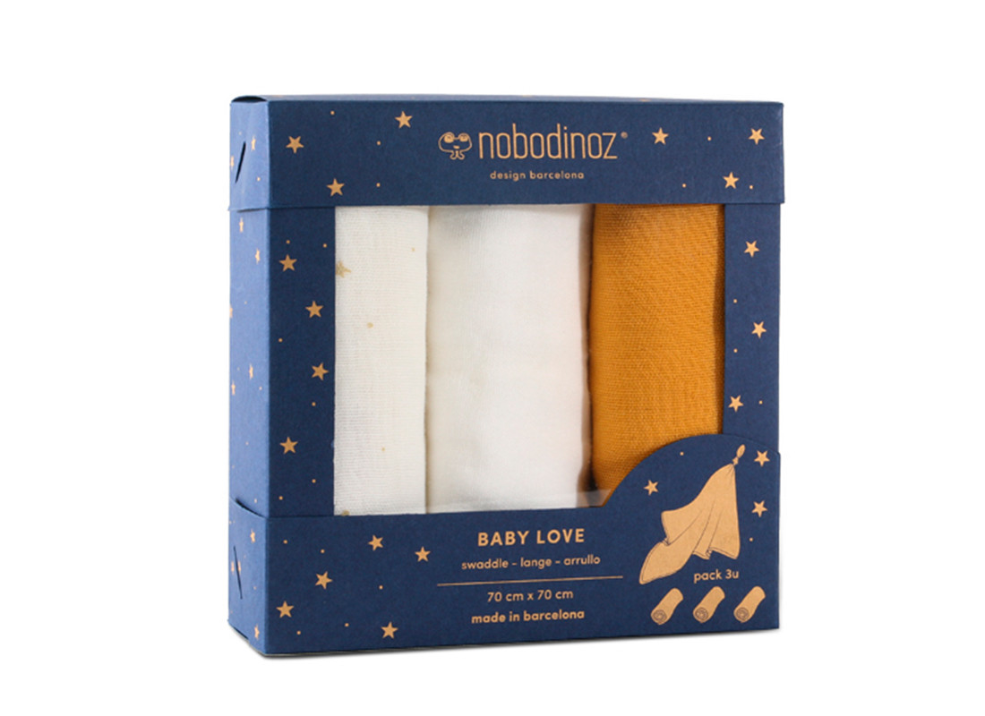 Caja 3u muselinas Baby love 70x70 pack yellow