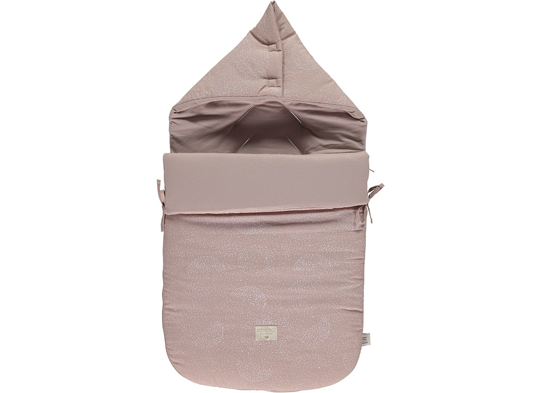 Passegiata footmuff 90x46x6 white bubble/ misty pink