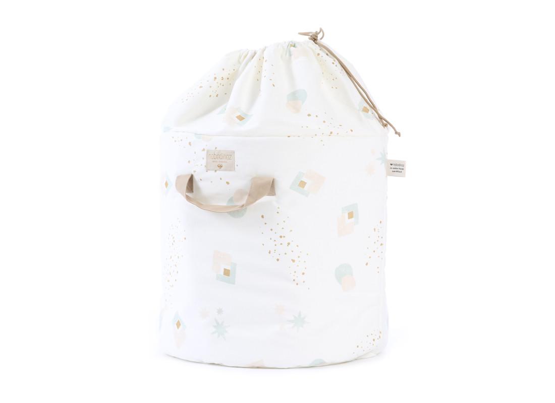 Bamboo toy bag aqua eclipse/ white - 2 sizes