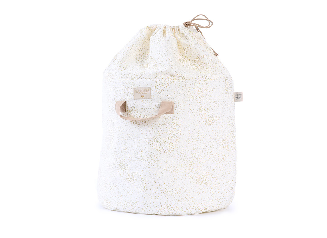 Bamboo toy bag gold bubble/ white - 2 sizes