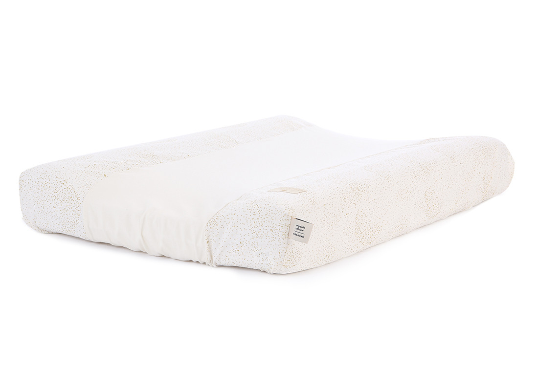 Calma waterproof changing mat & cover 70x50 gold bubble/ white