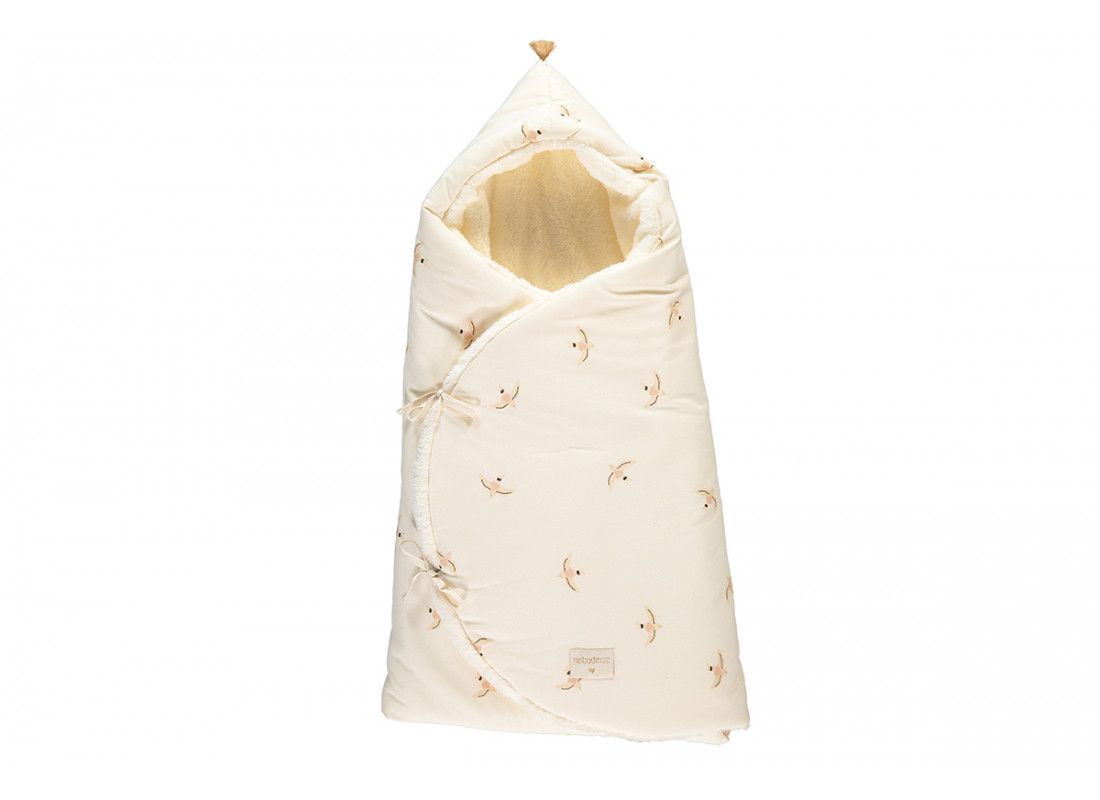 Cozy winter baby nest bag 0-3 M nude haiku birds/ natural