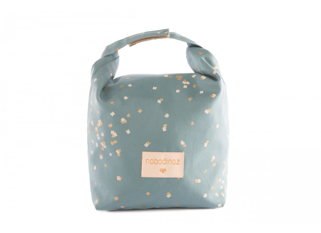 Too Cool eco lunch bag • gold confetti magic green