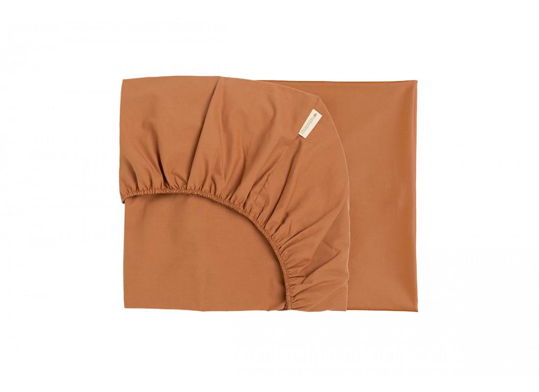 Tibet crib fitted sheet • sienna brown