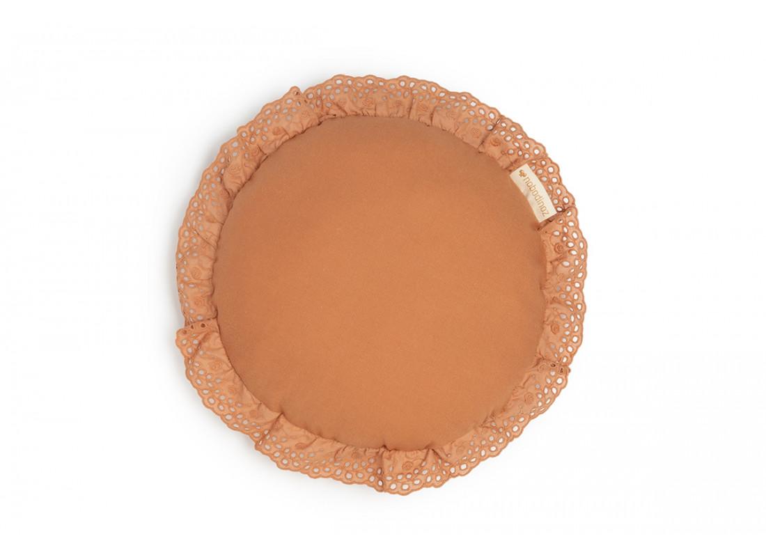 Vera Eyelet Lace round cushion • sienna brown