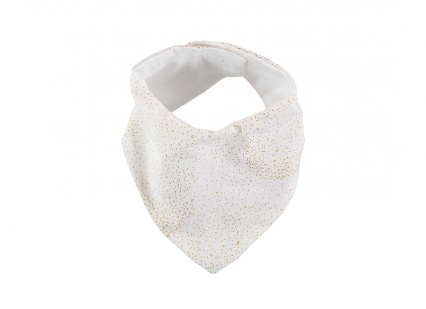 Lucky bandana bib 16x43 gold bubble/ white