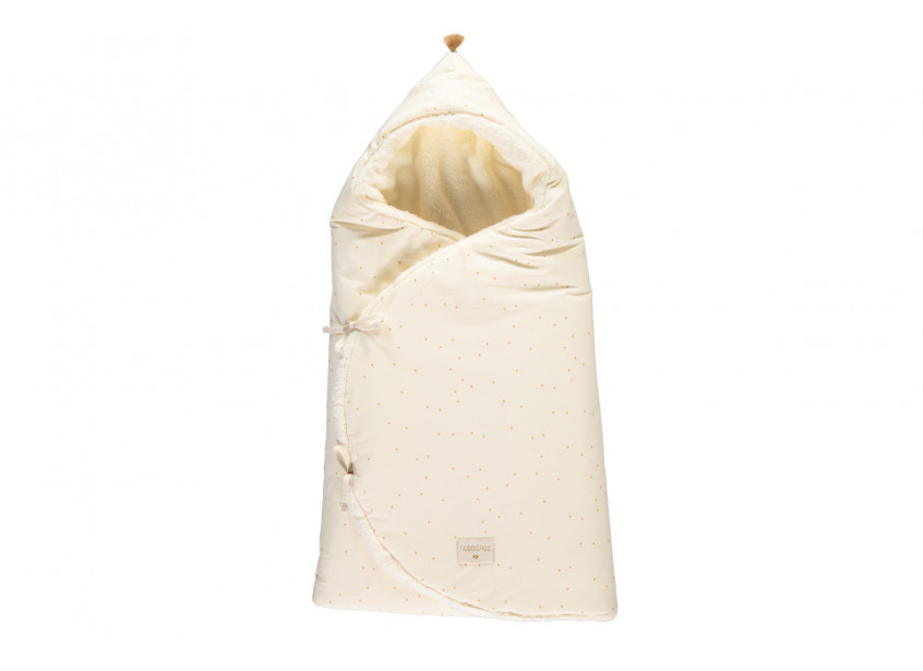 Cozy 0-3M winter baby nest bag • honey sweet dots natural