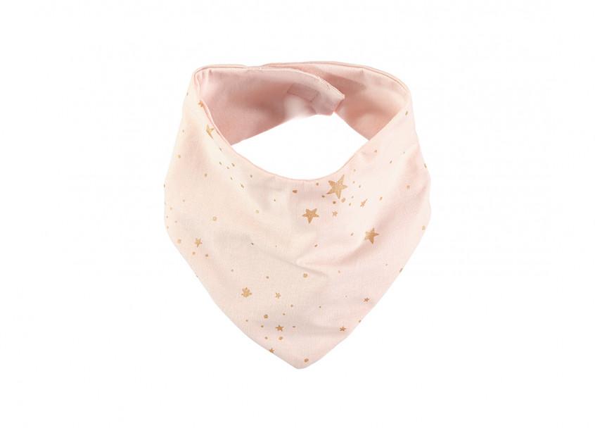 Lucky bandana bib 16x43 gold stella/ dream pink