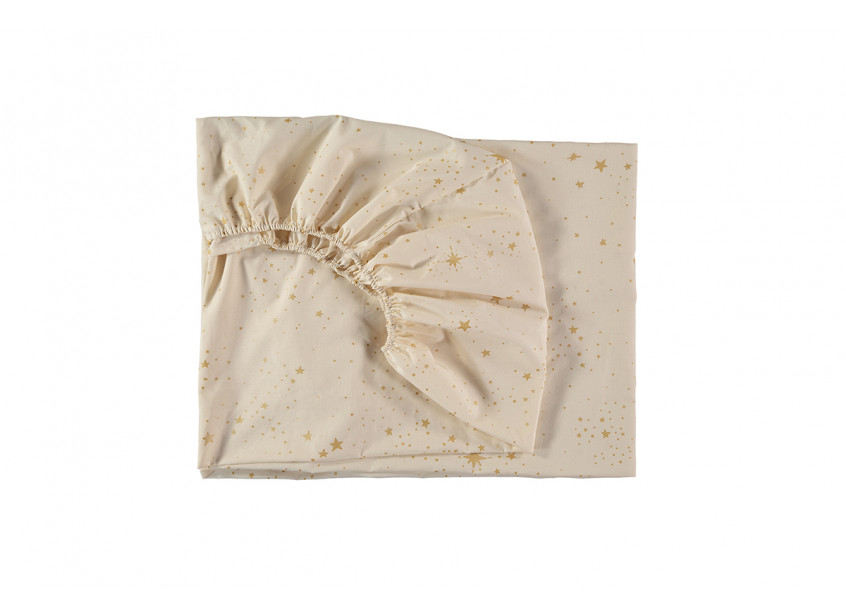 Tibet fitted sheet gold stella/ natural - 2 sizes