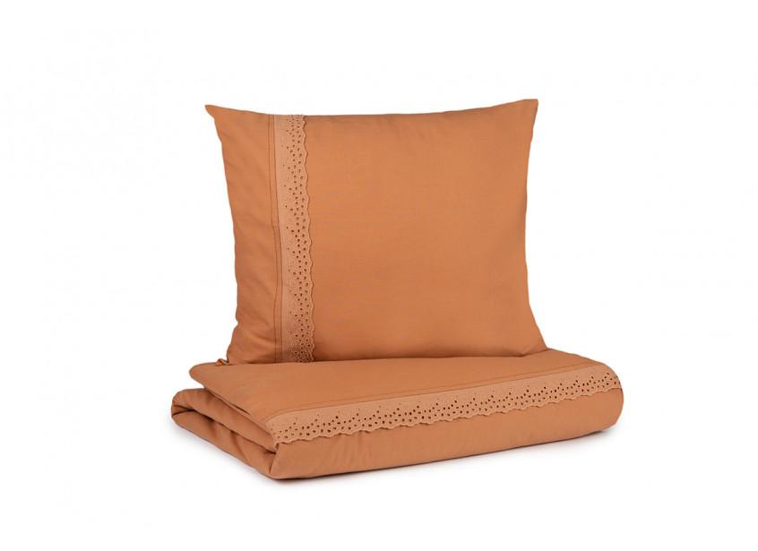 Vera Eyelet Lace crib duvet cover • sienna brown