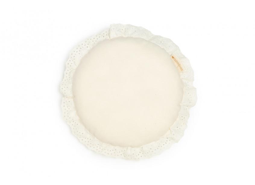 Vera Eyelet Lace round cushion • natural