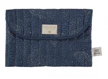 Bagatelle pouch 19x27 gold bubble/ night blue