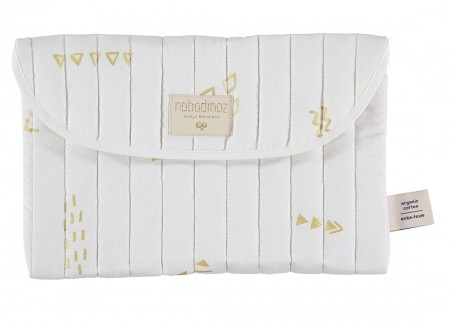 Bagatelle pouch 19x27 gold secrets/ white