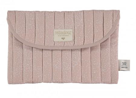 Bagatelle pouch 19x27 white bubble/ misty pink