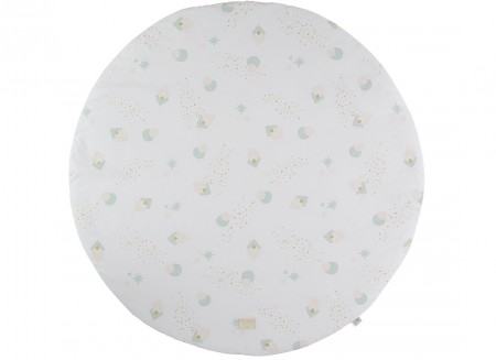Full Moon small round playmat 105x105 aqua eclipse/ white