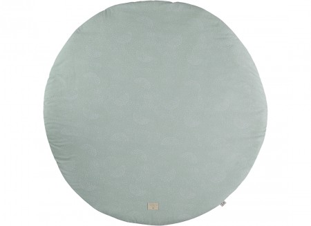 Full Moon small round playmat 105x105 white bubble/ aqua