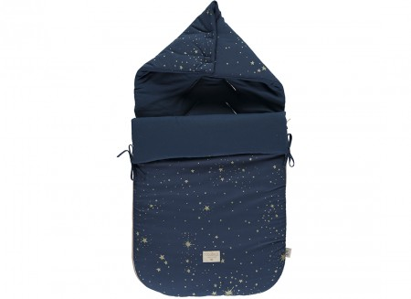 Passegiata footmuff 90x46x6 gold stella/ night blue