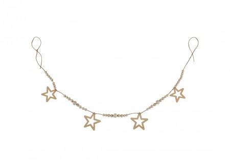 Star and pearl garland 165cm natural