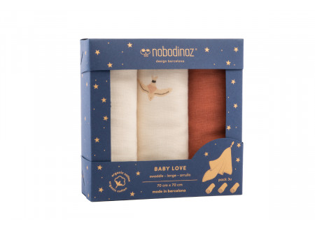 Box 3 Baby Love swaddles pack toffee